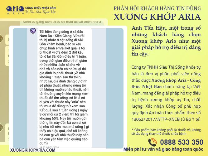 Chất chống viêm tự nhiên trong Xương khớp Aria - phản hồi khách hàng anh Hoàng